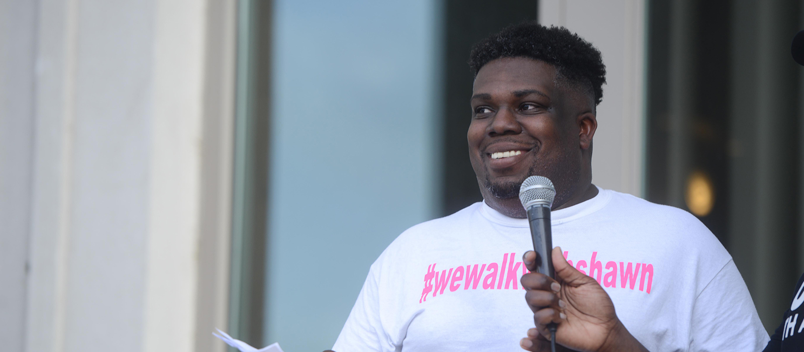 Shawn Dromgoole speaks at the Edgehill Black History Tour starting at Belmont University and walking around the Edgehill neighborhood in support of We Walk with Shawn in Nashville, Tennessee, June 27, 2020