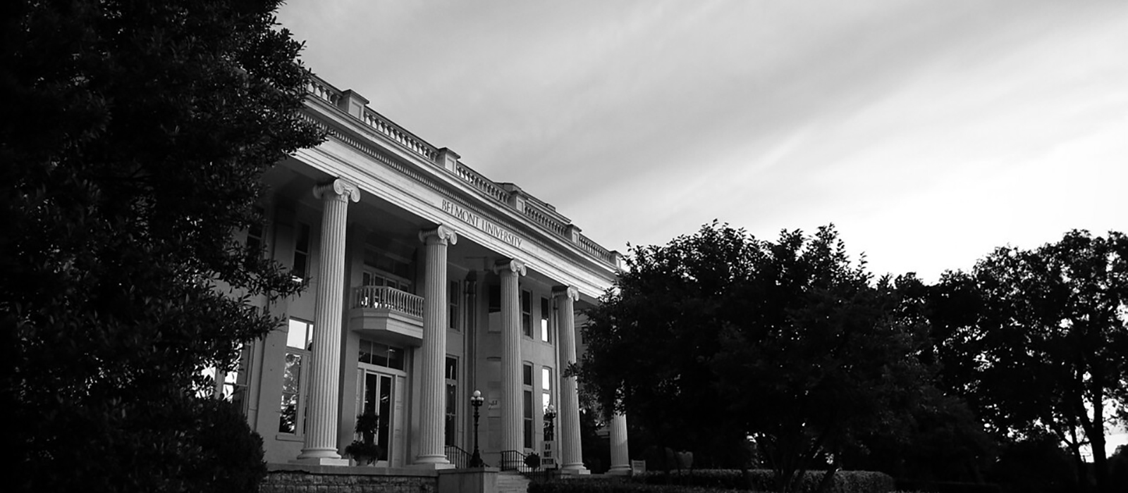 A photo of Freeman Hall in black and white