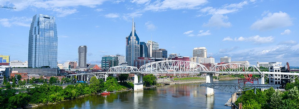 A view of the Nashville Skyline from East Nashville
